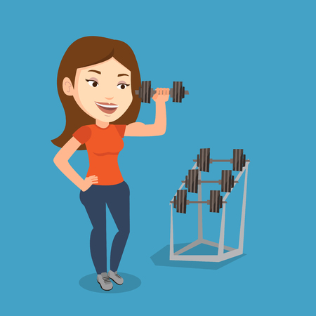 Young sporty woman lifting a heavy weight dumbbell. Caucasian strong sportswoman doing exercise with dumbbell. Weightlifter holding dumbbell in the gym. Vector flat design illustration. Square layout Illustration