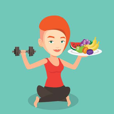 Healthy sportswoman with fruits and dumbbell. Caucasian woman holding fruits and dumbbell. Woman choosing healthy lifestyle. Healthy lifestyle concept. Vector flat design illustration. Square layout. Illustration