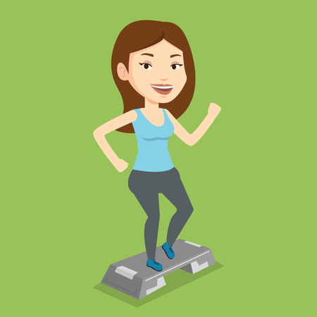 Young man doing step exercises. Caucasian man training with stepper in the gym. Man working out with stepper in the gym. Sportsman standing on stepper. Vector flat design illustration. Square layout. Illustration