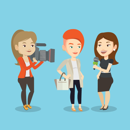 Professional caucasian reporter with microphone interviews a man. Female operator filming interview. Journalist making interview with businessman. Vector flat design illustration. Square layout. Illustration