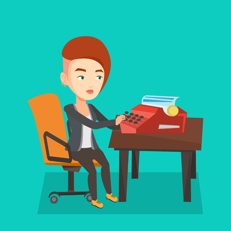 Young caucasian female journalist writing an article on a vintage typewriter. Concentrated female journalist working on retro typewriter. Vector flat design illustration.Square layout.