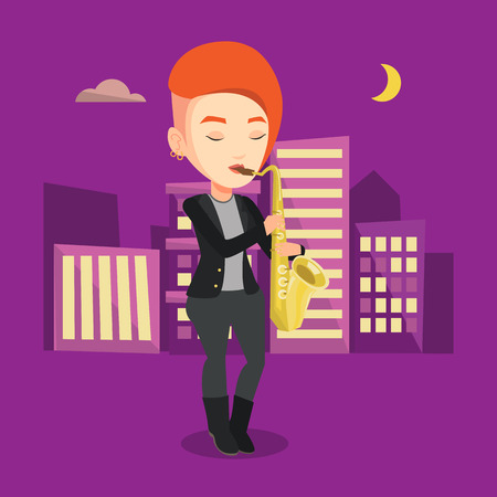 Pleased musician playing on saxophone. Caucasian woman with eyes closed playing on saxophone in the night. Musician with saxophone in the city street. Vector flat design illustration. Square layout.