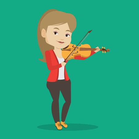 Jonge glimlachende muzikant spelen viool. Vrolijke violist het spelen van klassieke muziek op viool. Kaukasische vrouwelijke muzikant die zich met viool. Vector platte ontwerp illustratie. Vierkante lay-out. Stock Illustratie