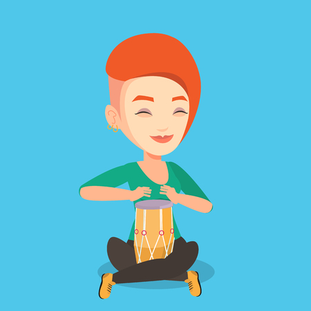 Young woman with eyes closed playing ethnic drum. Caucasian mucisian playing ethnic drum. Woman playing ethnic music on tom-tom. Vector flat design illustration. Square layout. Illustration