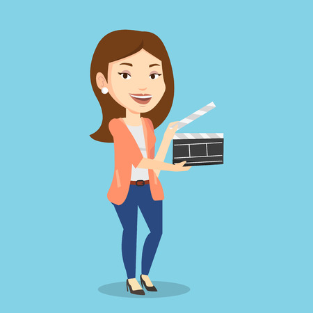 cinematographer: Happy caucasian woman working with a clapperboard. Smiling woman holding an open clapperboard. Cheerful woman holding blank movie clapperboard. Vector flat design illustration. Square layout.