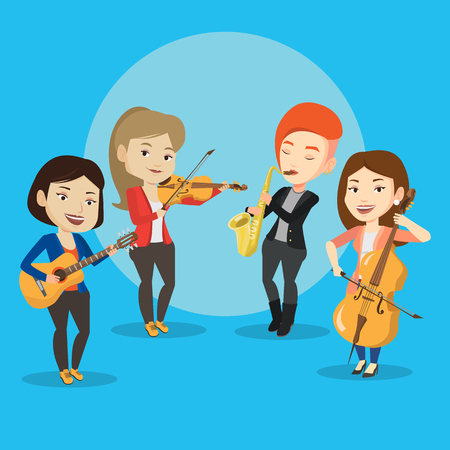 rehearse: Band of musicians playing on musical instruments. Group of young musicians playing on musical instruments. Band of musicians performing with instruments. Vector flat design illustration. Square layout