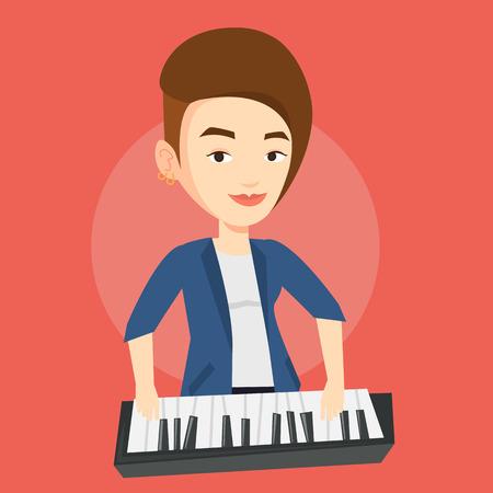pianista: sonriente joven músico tocando el piano. Pianista tocando piano vertical. pianista de sexo femenino caucásico que juega en el sintetizador. Vector de diseño plano ilustración. de planta cuadrada. Vectores