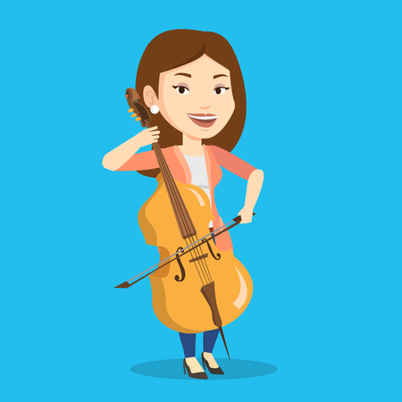 Jonge gelukkige Kaukasische musicus die cello speelt. Cellist die klassieke muziek op cello speelt. Jongelui die vrouwelijke musicus met cello en boog glimlachen. Vector platte ontwerp illustratie. Vierkante lay-out. Stock Illustratie