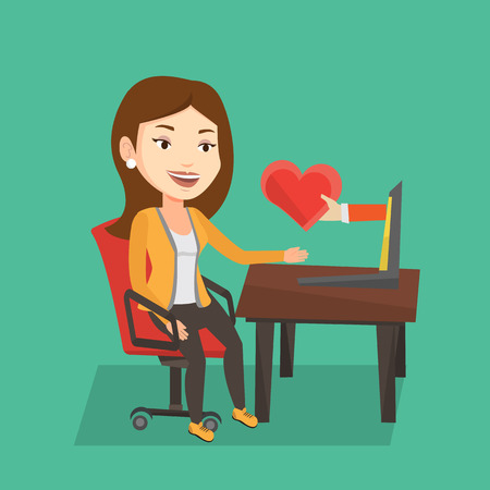 looking for love: Woman using laptop and dating online. Caucasian woman looking for online date on the internet. Woman dating online and getting virtual love message. Vector flat design illustration. Square layout.