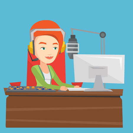 Female radio dj working in front of microphone, computer and mixing console on radio. Caucasian female dj in headset working on a radio station. Vector flat design illustration. Square layout. Illustration