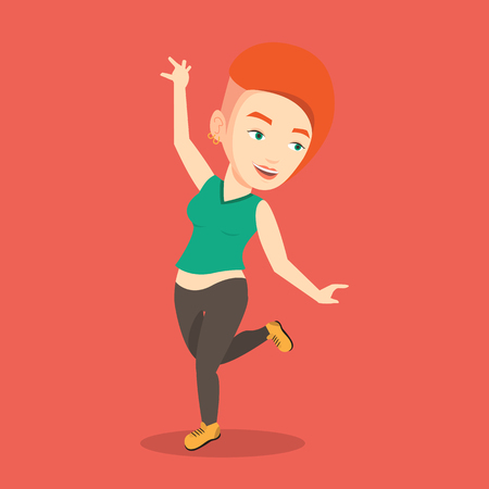 arm raised: Happy caucasian woman dancing. Cheerful woman dancer with arm raised in motion. Smiling woman during dance workout. Vector flat design illustration. Square layout