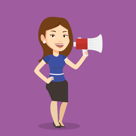 promoter: Business woman promoter holding megaphone. Social media marketing concept. Business woman speaking into a megaphone. Woman advertising using megaphone. Vector flat design illustration. Square layout.