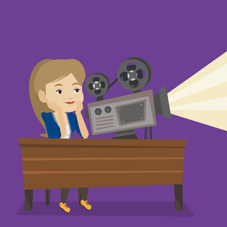 cinematographer: Woman sitting at the table with film projector in the room of projectionist. Caucasian projectionist showing new film. Young projectionist at work. Vector flat design illustration. Square layout.