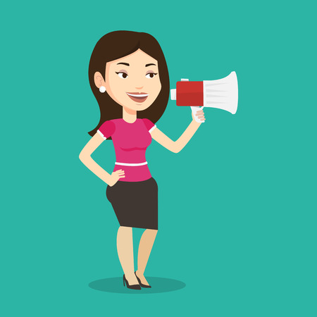 promoter: Caucasian woman holding megaphone. Social media marketing concept. Woman promoter speaking into a megaphone. Young woman advertising using megaphone. Vector flat design illustration. Square layout.