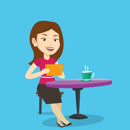 Young woman using a tablet computer in a cafe. Woman surfing in the social network. Social network concept. Woman rewriting in social network in a cafe. Vector flat design illustration. Square layout.