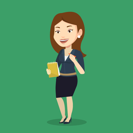 pad: Young journalist writing in notebook with pencil. Smiling journalist writing notes with pencil. Caucasian female journalist writing notes on the notepad. Vector flat design illustration. Square layout