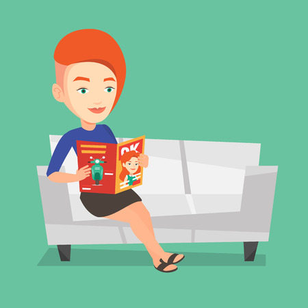 Young caucasian woman reading a magazine. Relaxed woman sitting on sofa and reading magazine. Smiling woman sitting on the couch with magazine in hands. Vector flat design illustration. Square layout. Ilustração