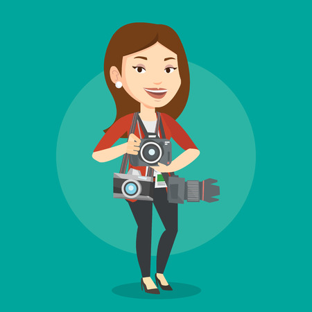Cheerful paparazzi with many cameras. Young caucasian female photographer with many photo cameras equipment. Professional journalist with many cameras. Vector flat design illustration. Square layout. 向量圖像