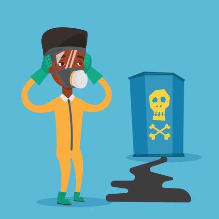 Concerned man in respirator and radiation protective suit clutching his head. An african-american man looking at leaking barrel with radioactive sign. Vector flat design illustration. Square layout.