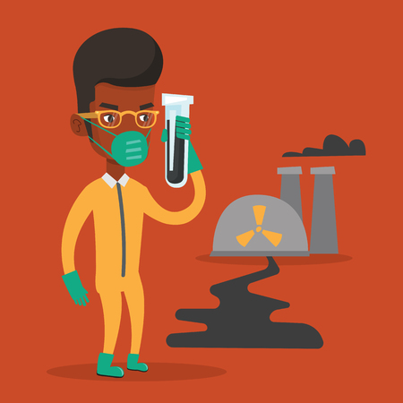 Man in radiation protective suit standing on the background of nuclear power plant. African-american man in radiation protective suit holding test-tube. Vector flat design illustration. Square layout. Illustration