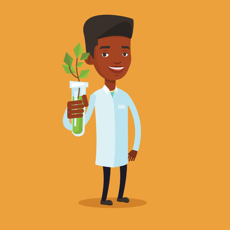 test tube: An african-american scientist holding test tube with young sprout. Man analyzing sprout in test tube. Laboratory assistant showing test tube with sprout. Vector flat design illustration. Square layout