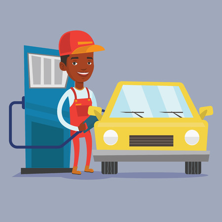 An african-american gas station worker filling up fuel into the car. Smiling worker in workwear at the gas station. Gas station worker refueling a car. Vector flat design illustration. Square layout. 일러스트