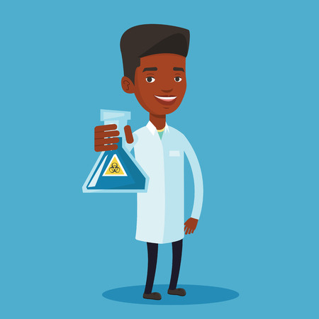 biohazard sign: Laboratory assistant holding a flask with biohazard sign. An african-american laboratory assistant in medical gown showing a flask with biohazard sign. Vector flat design illustration. Square layout.