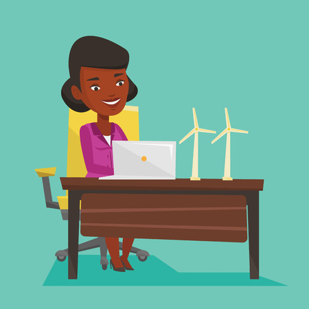 An african-american worker of wind farm working on laptop. Engineer projecting wind turbine. Worker with model of wind turbine. Vector flat design illustration. Square layout. Illustration