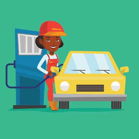 filling station: African-american gas station worker filling up fuel into the car. Female worker in workwear at the gas station. Young gas station worker refueling a car. Vector flat design illustration. Square layout