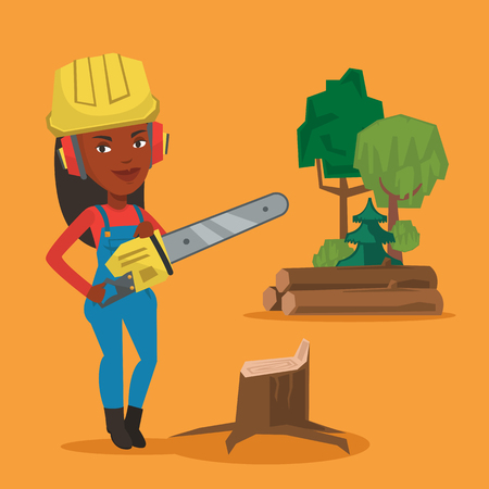 An african-american lumberjack holding chainsaw. Lumberjack in workwear, hard hat and headphones at the forest near stump. Lumberjack chopping wood. Vector flat design illustration. Square layout. Illustration