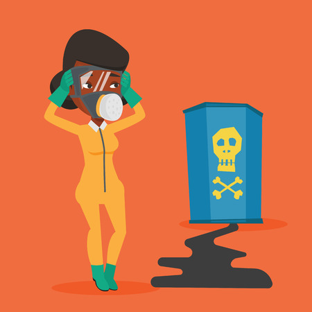 Concerned woman in respirator and radiation protective suit clutching her head. Woman in radiation suit looking at leaking barrel with radiation sign. Vector flat design illustration. Square layout.