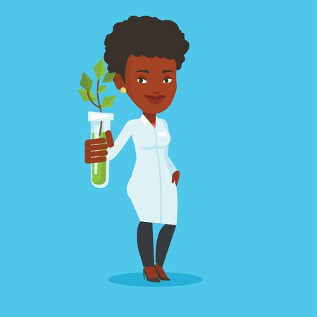 African-american scientist holding test tube with young sprout. Woman analyzing sprout in test tube. Laboratory assistant showing test tube with sprout. Vector flat design illustration. Square layout.