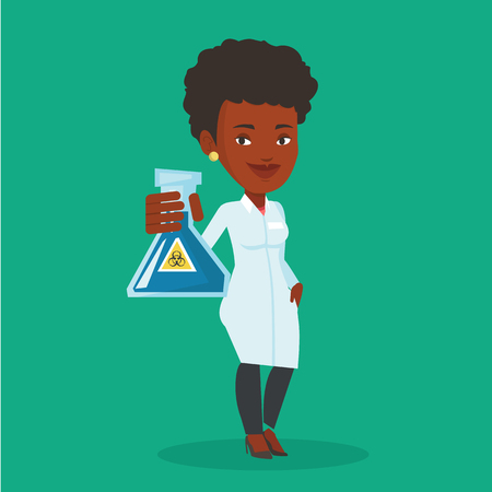 medical assistant: Laboratory assistant holding a flask with biohazard sign. An african-american laboratory assistant in medical gown showing a flask with biohazard sign. Vector flat design illustration. Square layout.