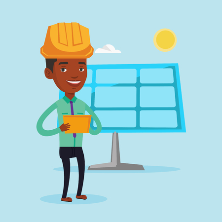 solar power: Engineer working on digital tablet at solar power plant. African-american worker of solar power plant. Engineer in hard hat checking solar panel setup. Vector flat design illustration. Square layout.