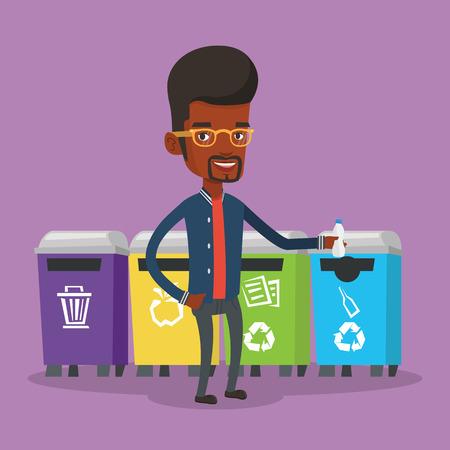 separacion de basura: hombre afroamericano tirar basura. El hombre de pie cerca de cuatro contenedores y tirar la basura en un contenedor apropiado. Concepto de la separación de basura. Vector de diseño plano ilustración. de planta cuadrada.
