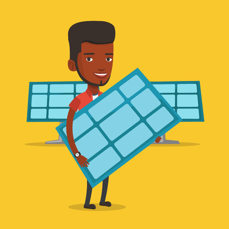 hands holding plant: African-american worker of solar power plant holding solar panel in hands. Vector flat design illustration. Square layout Illustration
