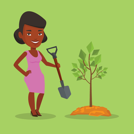An african-american woman plants a tree. Woman standing with shovel near newly planted tree. Young woman gardening. Environmental protection concept. Vector flat design illustration. Square layout. Illustration