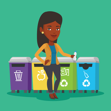 An african woman throwing away garbage. Woman standing near four bins and throwing away garbage in an appropriate bin. Concept of garbage separation. Vector flat design illustration. Square layout. Illustration