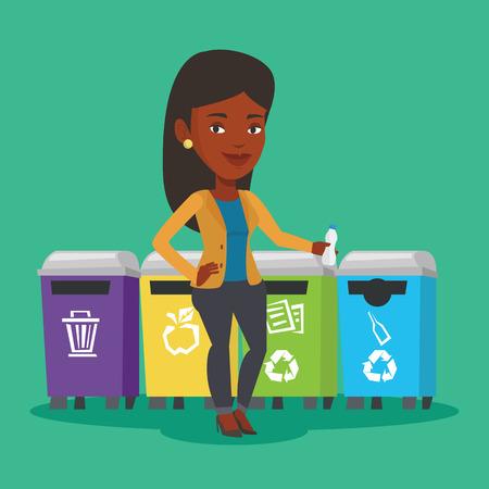 separacion de basura: Una mujer africana tirar basura. Mujer que se coloca cerca de cuatro contenedores y tirar la basura en un contenedor apropiado. Concepto de la separación de basura. Vector de diseño plano ilustración. de planta cuadrada.
