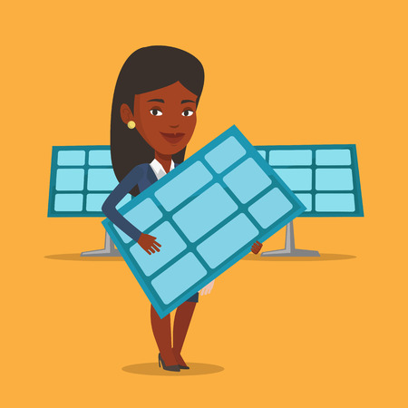 An african worker of solar power plant holding solar panel in hands. Vector flat design illustration. Square layout.