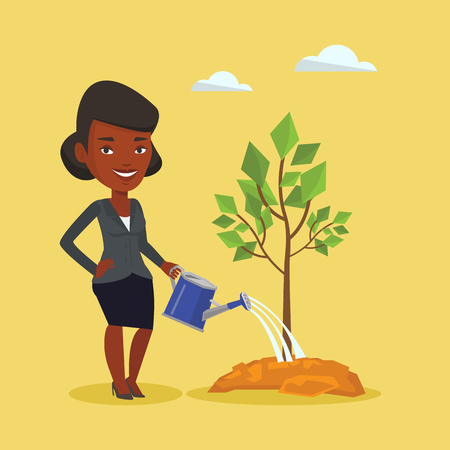 garden maintenance: An african-american friendly woman watering tree. Smiling female gardener with watering can. Young woman gardening. Concept of environmental protection. Vector flat design illustration. Square layout.