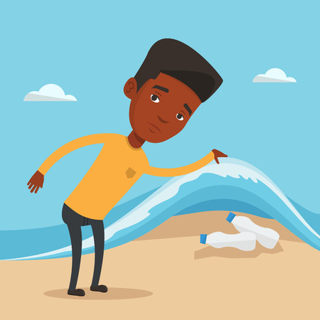 sea pollution: An african man showing plastic bottles under water of sea. Man collecting plastic bottles from water. Water pollution and plastic pollution concept. Vector flat design illustration. Square layout. Illustration
