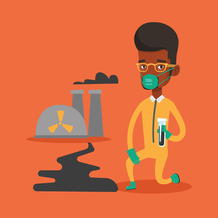 Young african scientist in gas mask and radiation protective suit holding a test-tube with black liquid on the background of nuclear power plant. Vector flat design illustration. Square layout.