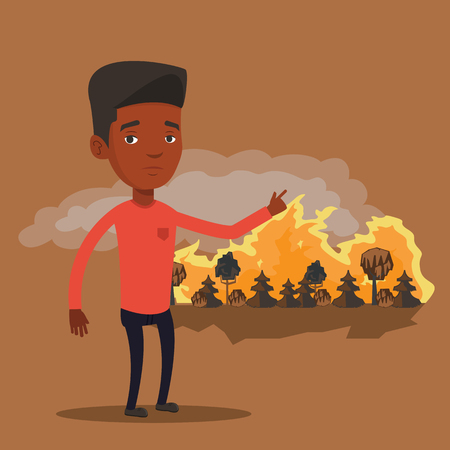 Frustrated man standing on the background of forest fire. An african-american man pointing at forest in fire. Concept of environmental destruction. Vector flat design illustration. Square layout. Illustration