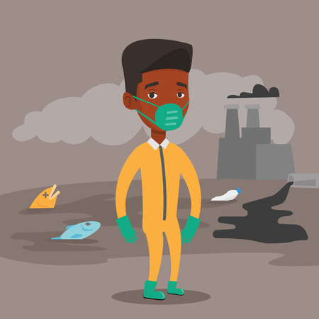 protective suit: An african man in gas mask and radiation protective suit standing on the background of nuclear power plant. Scientist wearing radiation protection suit. Vector flat design illustration. Square layout. Illustration