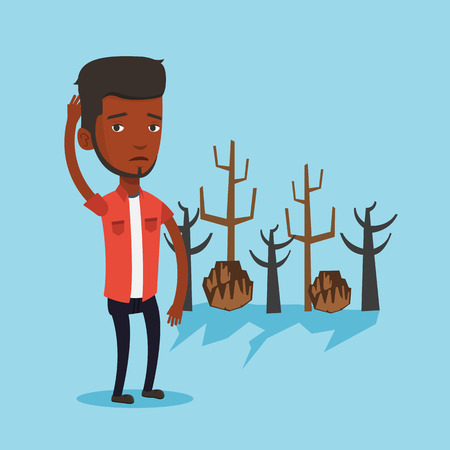 man caused: An african man scratching head on the background of dead forest. Dead forest caused by global warming or wildfire. Concept of environmental destruction. Vector flat design illustration. Square layout.