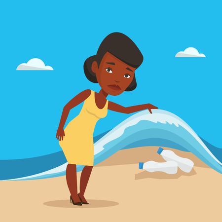 sea pollution: An african woman showing plastic bottles under water of sea. Woman collecting plastic bottles from water. Water pollution and plastic pollution concept. Vector flat design illustration. Square layout.