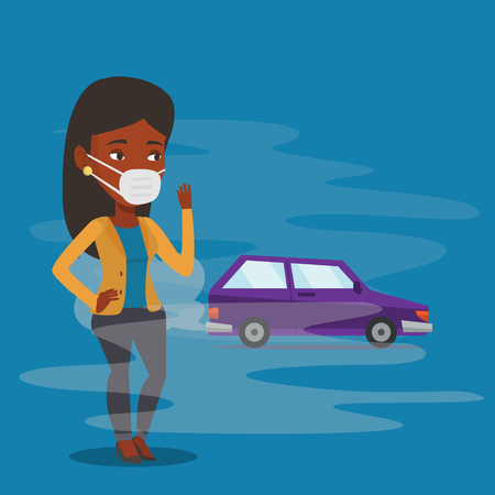 Woman standing on the background of car with traffic fumes. Woman wearing mask to reduce the effect of traffic pollution. Concept of toxic air pollution. Vector flat design illustration. Square layout 矢量图像