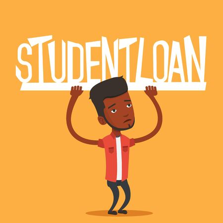 student loan: An african-american man holding a heavy sign of student loan. Tired man carrying heavy sign - student loan. Concept of the high cost of student loan. Vector flat design illustration. Square layout. Illustration