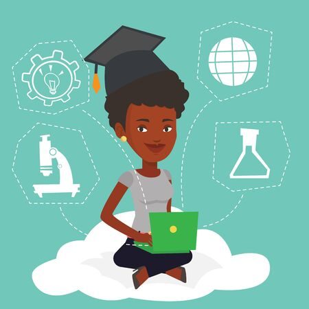 cloud computing technologies: An african graduate sitting on cloud with laptop. Graduate using cloud computing technologies. Concept of educational technology and cloud computing. Vector flat design illustration. Square layout. Illustration
